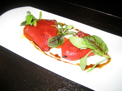 Piquillo. Red bell pepper with goat cheese.