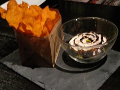 Sweet potato chips with yogurt and tamari(I think) sauce was fun to eat!!