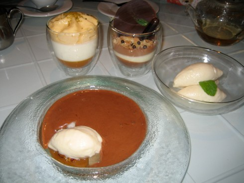 Hot hazelnut mousse with pear sorbet, panna cotta, choco mousse were excellent
