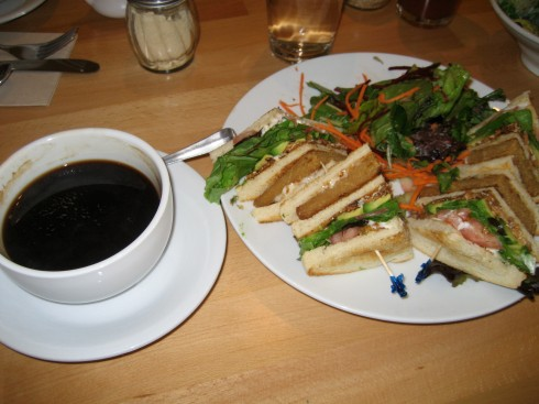 Here is my club sandwithes with organic coffee