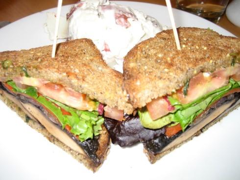 Miki's Portabello mushroom and avocado sandwiches with potato salad